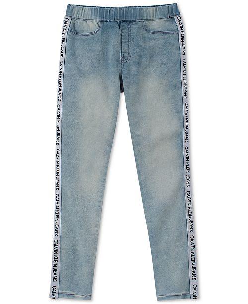 Calvin Klein Big Girls Logo Denim Leggings Reviews Jeans Kids Macy S