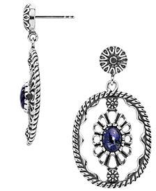 American West Blue Lapis Concha Dangle Earrings in Sterling Silver