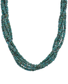 American West Five Strand Green Turquoise Necklace in Sterling Silver and Brass