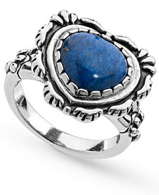 American West Lapis Heart Bezel Set Ring in Sterling Silver