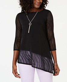 JM Collection Petite Asymmetrical Necklace Top, Created for Macy's