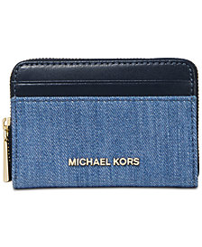 MICHAEL Michael Kors Zip-Around Denim Coin & Card Case, Created for Macy's