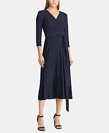 Lauren Ralph Lauren Polka-Dot Ruched Dress