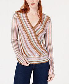 Bar III Metallic Surplice Pullover Sweater, Created for Macy's