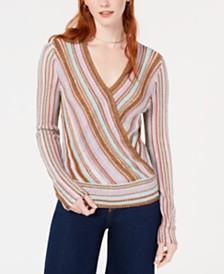 Bar III Metallic Surplice Pullover Sweater, Created for Macy's