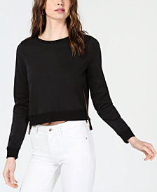 Bar III Cropped Zip-Detail Sweatshirt, Created for Macy's