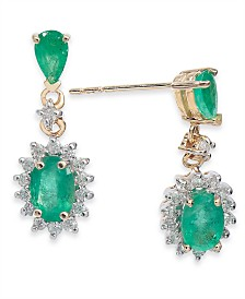 Emerald (1-1/2 ct. t.w.) & Diamond (1/3 ct. t.w.) Drop Earrings in 14k Gold