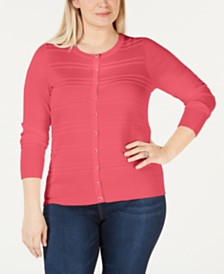 Charter Club Plus Size Textured Cardigan, Created for Macy's