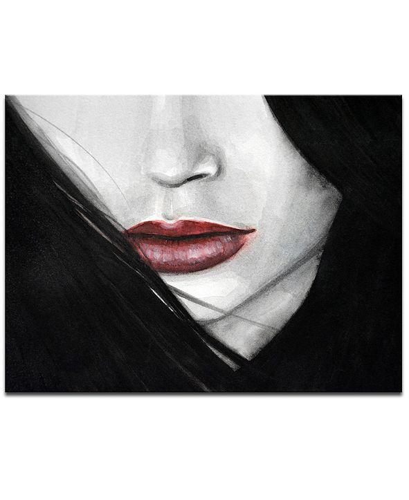 "Ready2HangArt 'Temptation IV' Mouth Profile Canvas Wall Art, 20x30"""