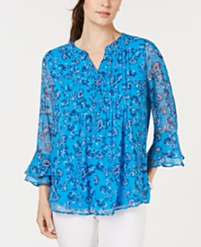 Charter Club Printed Pintuck Top, Created for Macy's
