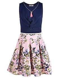 Beautees Big Girls 2-Pc. Twist Top & Floral-Print Skirt