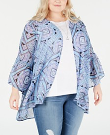 Style & Co Plus Size Printed Kimono, Created for Macy's