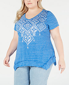 Style & Co Plus Size Graphic Handkerchief-Hem Top, Created for Macy's