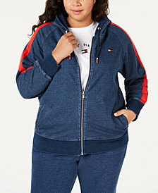 Tommy Hilfiger Sport Plus Size Cotton Side-Stripe Zip-Up Hoodie