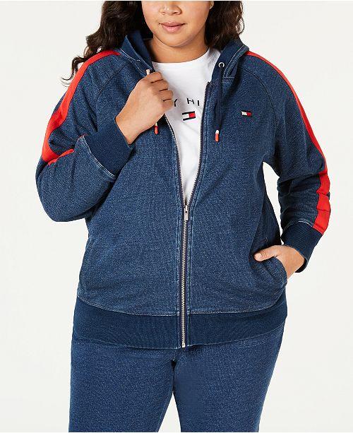 Tommy Hilfiger Plus Size Cotton Side-Stripe Zip-Up Hoodie