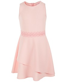 Us Angels Big Girls Lace-Trim Textured Dress