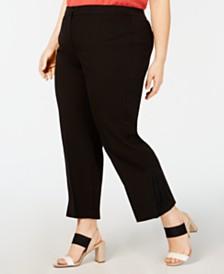 Alfani Plus Size Pleated-Hem Ankle Pants, Created for Macy's