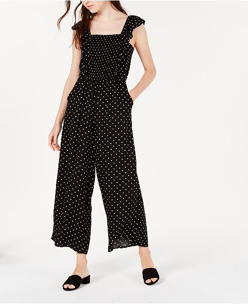 American Rag Juniors' Smocked Polka-Dot Jumpsuit, Created for Macy's