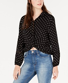 300f6fb8162 American Rag Juniors  Cropped Twist-Front Shirt