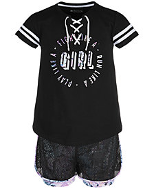 Ideology Big Girls Lace-Up T-Shirt & Printed Layered-Look Mesh Shorts, Created for Macy's