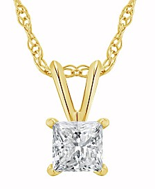 Certified Princess Cut Diamond Solitaire Pendant Necklace (3/4 ct. t.w.) in 14k White Gold or Yellow Gold
