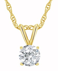 Certified Round Diamond Solitaire Pendant Necklace (3/4 ct. t.w.) in 14k White Gold or Yellow Gold