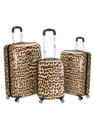 Rockland Leopard 3pc Polycarbonate/ABS Spinner Luggage Set - Leopard