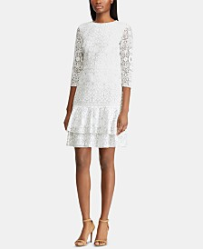 Lauren Ralph Lauren Petite Ruffle-Hem Lace Dress