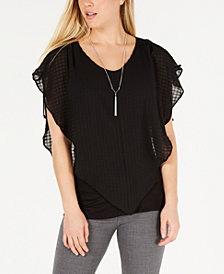 BCX Juniors' Popover Necklace Top