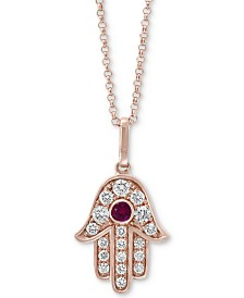 "EFFY® Certified Ruby Accent and Diamond Accent Hamsa 18"" Pendant in 14K Rose Gold"