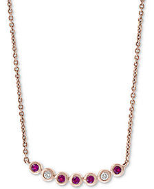 """EFFY Certified Ruby (1/8 ct. t.w.) and Diamond Accent 18"""" Necklace in 14k Rose Gold"""