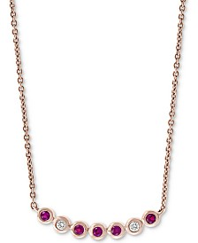 "EFFY® Certified Ruby (1/8 ct. t.w.) and Diamond Accent 18"" Necklace in 14k Rose Gold"