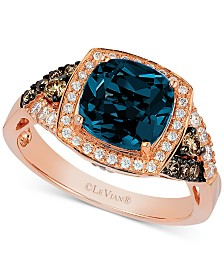 Le Vian® Deep Sea Blue Topaz (2-3/8 ct. t.w), Vanilla Diamond (1/5 ct. t.w.) and Chocolate Diamond (1/5 ct. t.w.) Ring in 14k Rose Gold