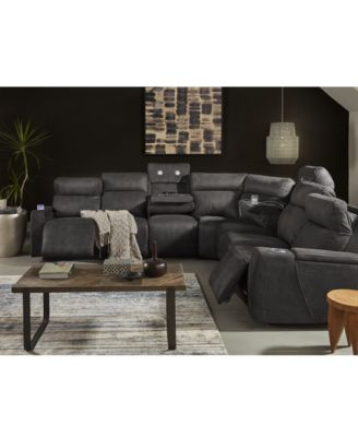 Furniture Oaklyn Fabric & Leather Sectional Collection With Power ...