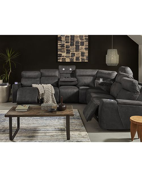 Furniture Oaklyn Fabric Leather Sectional Collection With Recliners Headrests And Usb