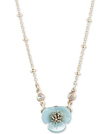 """Gold-Tone Crystal & Imitation Mother-of-Pearl Flower Pendant Necklace, 16"""" + 3"""" extender"""