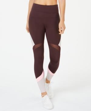 Calvin Klein Performance High-waist Colorblocked Leggings In Raisin Combo