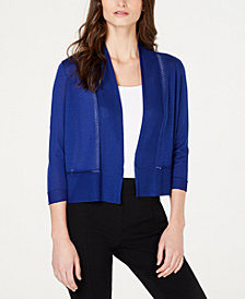 Anne Klein Pointelle Open-Front Cropped Cardigan