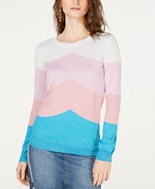I.N.C. Colorblocked Metallic Sweater, Created for Macy's