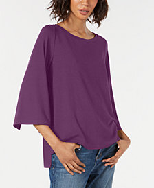 Eileen Fisher Boat-Neck Split-Sleeve Top