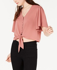 Gypsies & Moondust Juniors' Tie-Front Blouse