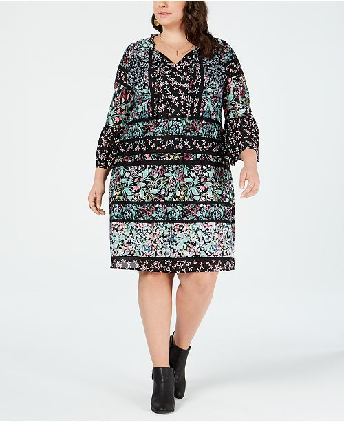 Plus Size Mixed-Print Trim Dress, Created for Macy\'s