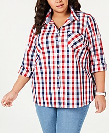 Plus Size Galleon Gingham Button-Up Shirt