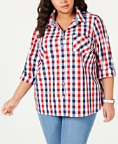 5140babcc3d Tommy Hilfiger Plus Size Galleon Gingham Button-Up Shirt