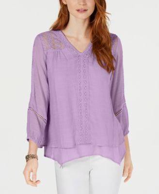 Image of Style & Co Petite Layered-Hem Crochet Woven Top, Created for Macy's