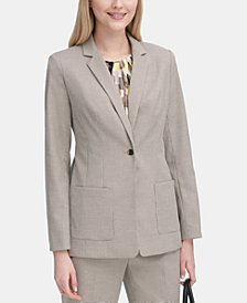 Calvin Klein Petite Textured One-Button Blazer