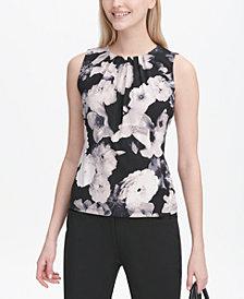 Calvin Klein Petite Floral-Print Pleat-Neck Blouse