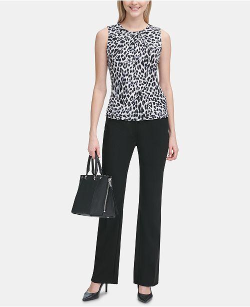 bc0bdea8edf1 Calvin Klein Animal-Print Pleat-Neck Blouse & Reviews - Tops - Women ...