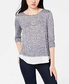 BCX Juniors' Layered-Look Ribbed Knit Top & Necklace