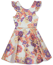 Rare Editions Big Girls Floral Brocade Dress, Created for Macy's